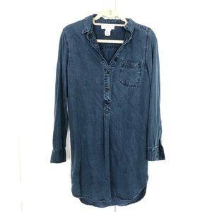 L.O.G.G H&M Dark Denim Chambray Tunic Dress Size 2